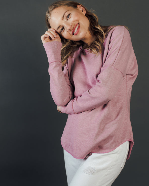 Women's Fleece Long Sleeve in Blush - Tops - Wolfe Co. Apparel and Goods