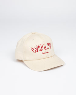 Varsity Strap Back Natural - Hats - Wolfe Co. Apparel and Goods