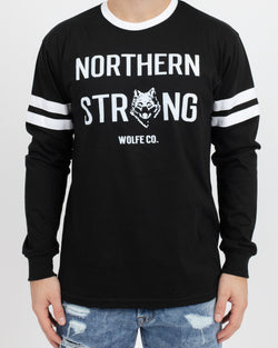 Northern Strong Varsity Long Sleeve Shirt - Tops - Wolfe Co. Apparel and Goods