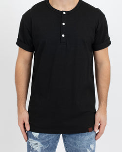 Black Short Sleeve Henley - Tops - Wolfe Co. Apparel and Goods