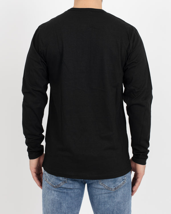 Black Long Sleeve Henley - Tops - Wolfe Co. Apparel and Goods