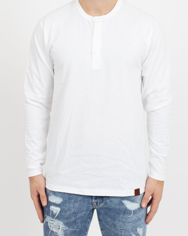 White Long Sleeve Henley - Tops - Wolfe Co. Apparel and Goods