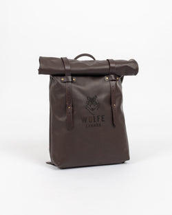 Chocolate Leather Rolltop Bag - Backpack - Wolfe Co. Apparel and Goods