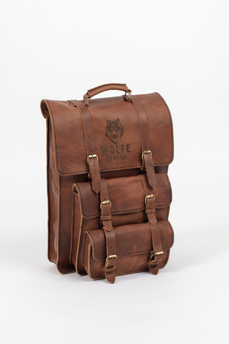 English Tan Leather Travel Pack - Backpack - Wolfe Co. Apparel and Goods