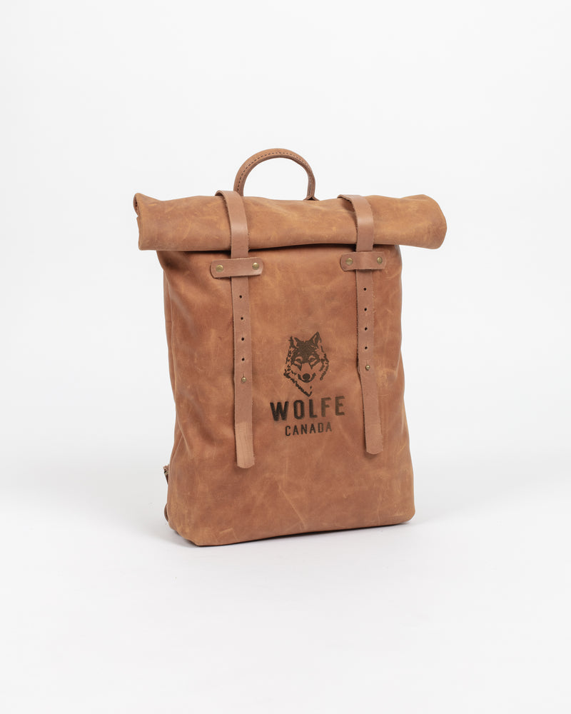 English Tan Rolltop Bag - Backpack - Wolfe Co. Apparel and Goods