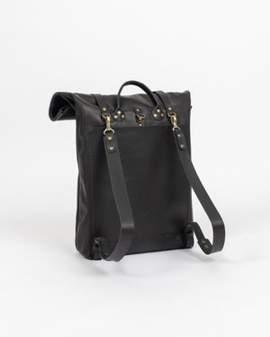 Black Leather Rolltop Bag - Wolfe Co. Apparel and Goods