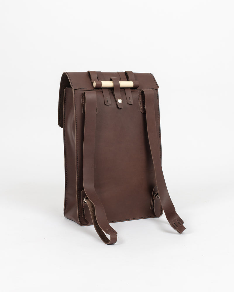Chocolate Leather Day Pack - Backpack - Wolfe Co. Apparel and Goods