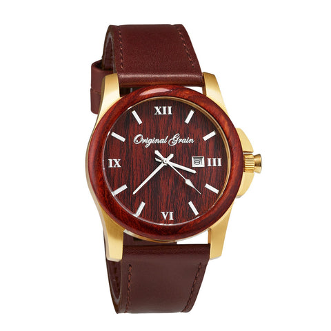 Classic Gold Rosewood Brown Leather