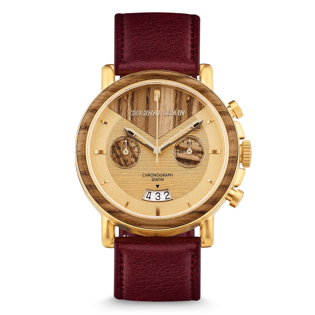 Chrono Zebrawood / Gold Leather
