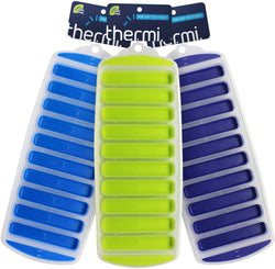 3 Pack THERMI Ice Sticks Silicone Ice Trays (Frost Blue, Lime Green, Midnight Blue)