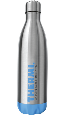 Thermi Vacuum Insulated Cold Hot Bottle - Double Walled Stainless Steel Water Thermos Cup - Compare to S'well, Contigo, Yeti, Hydro Flask - Cola Style Sports Tumbler (Frost Blue, 25oz)