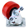 "Penn Elcom 4""x2"" 700lb Heavy Duty Swivel Caster with Side Brake, Red, 8408HDWB - Neon Production Supply"