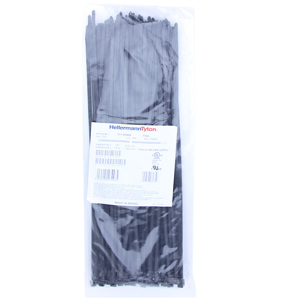 "Hellermann Tyton Zip Ties - 15.35"", 50lb, 100 Pack, Black - T50L0C2"