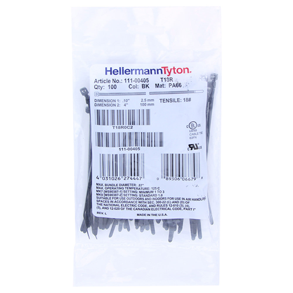 "Hellermann Tyton Zip Ties - 4"", 18lb, 100 Pack, Black - T18R0C2 - Neon Production Supply"