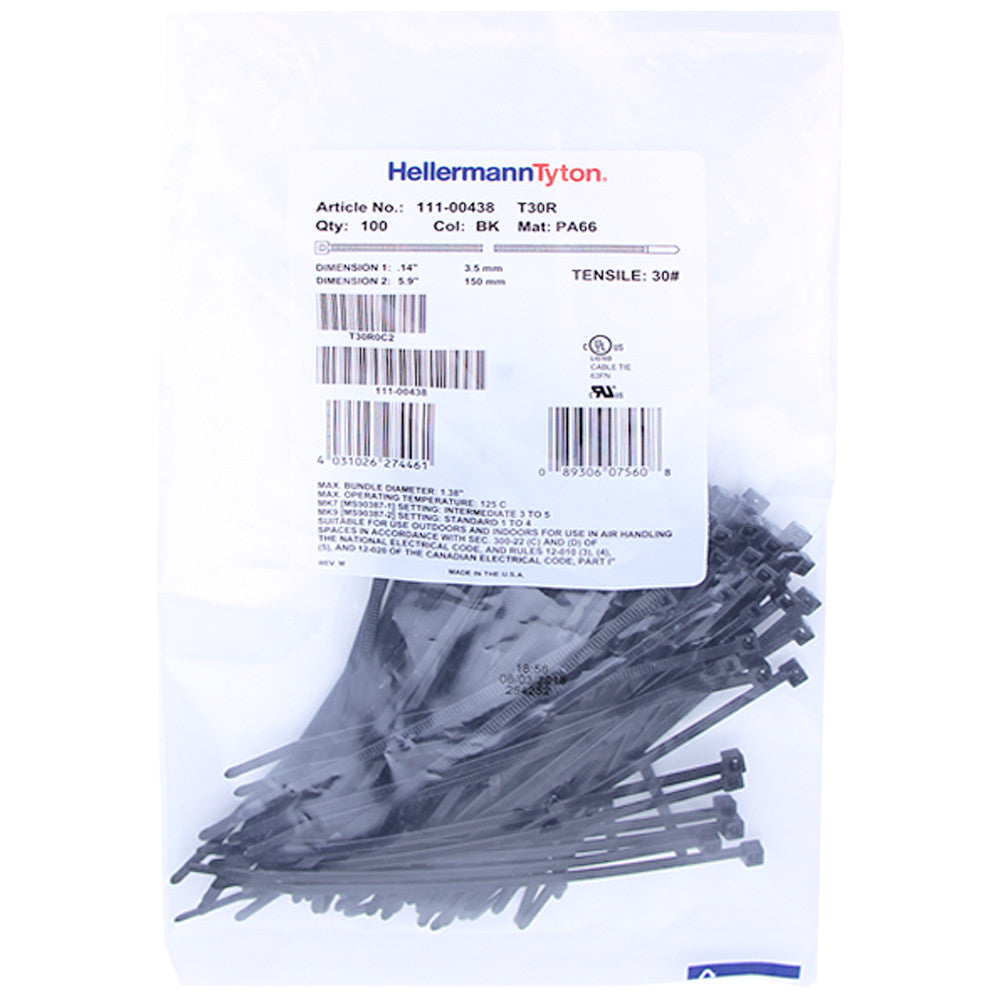"Hellermann Tyton Zip Ties - 5.8"", 30lb, 100 Pack, Black - T30R0C2"