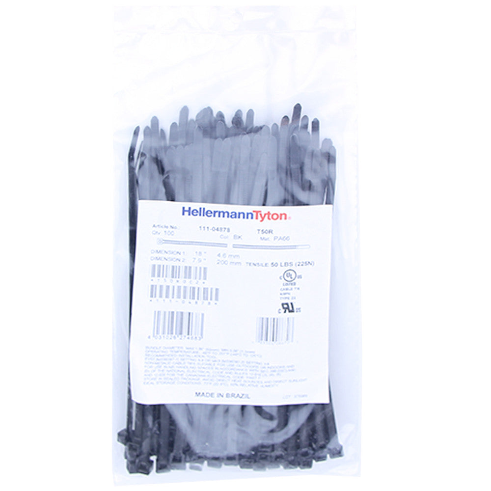 "Hellermann Tyton Zip Ties - 8"", 50lb, 100 Pack, Black - T50R0C2"