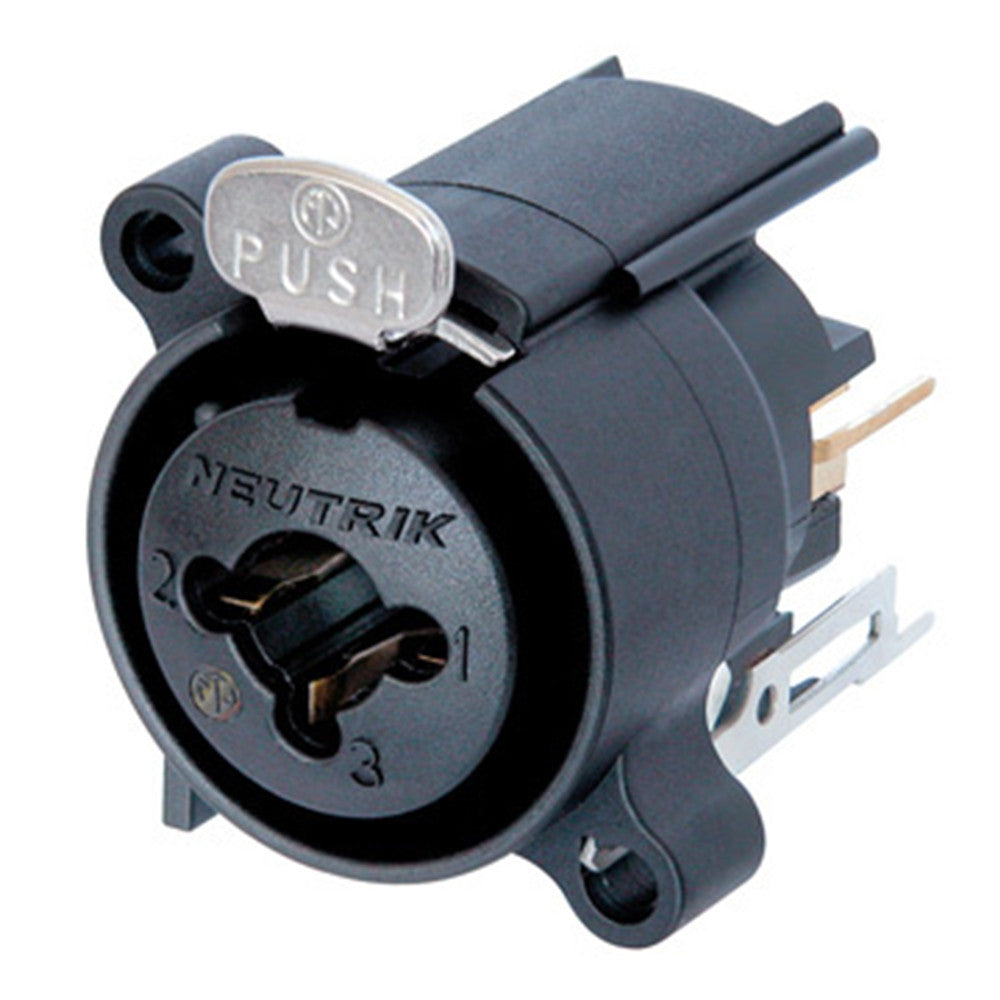 Neutrik 3 Pin Combo A Series Female XLR Chassis Connector, Vertical Mount, Black/Gold - NCJ6FA-V