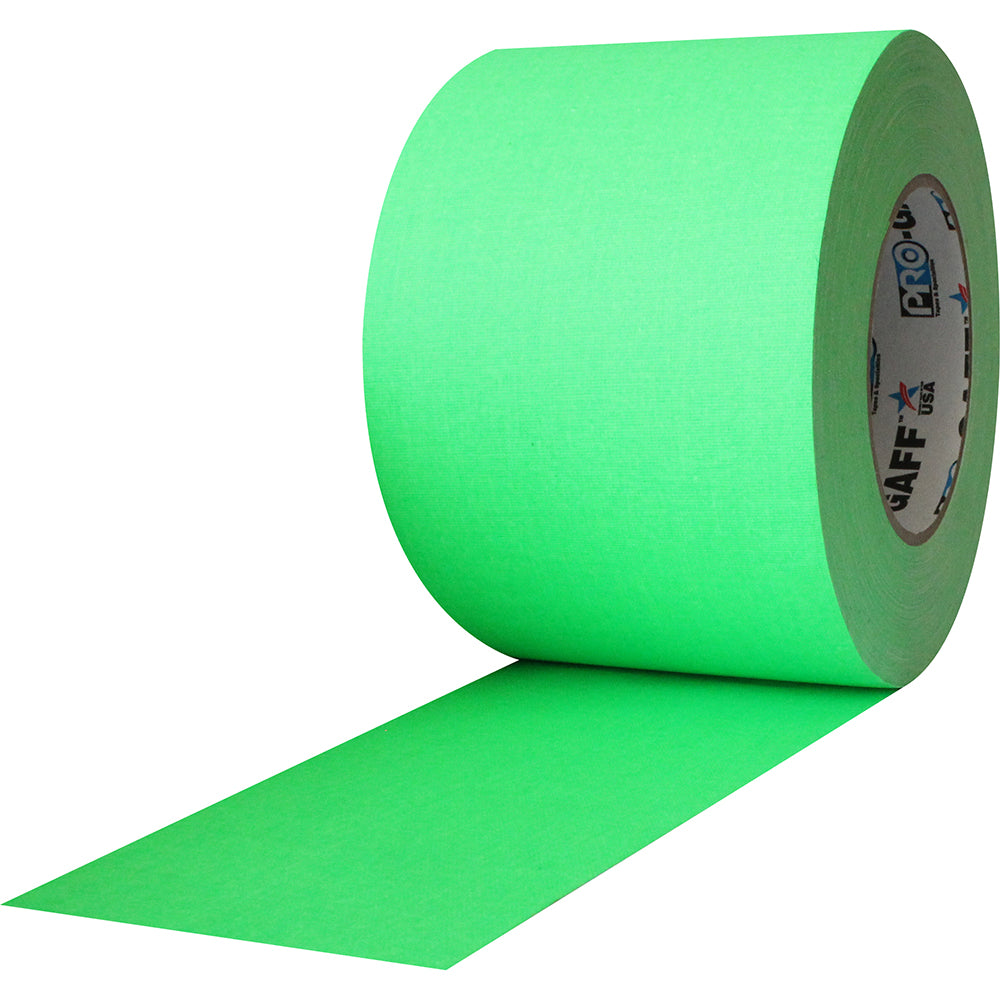 "Pro Gaff Tape - 4"" x 50yd, Neon Green - Neon Production Supply"