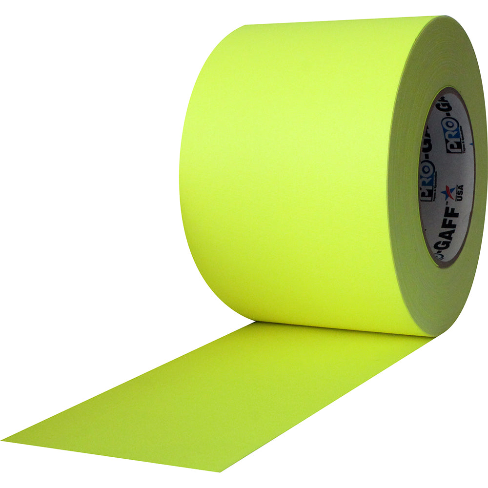 "Pro Gaff Tape - 4"" x 50yd, Neon Yellow - Neon Production Supply"