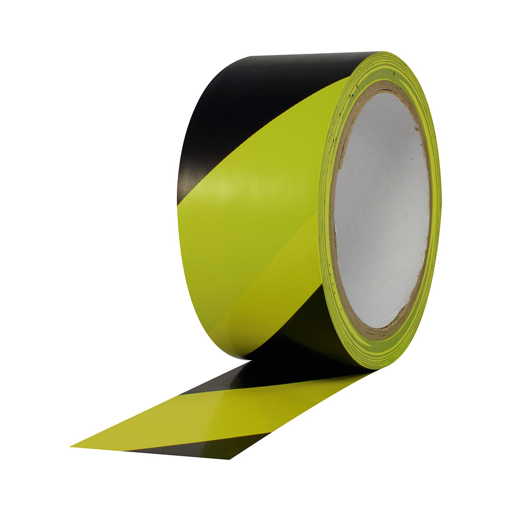 "Pro Safety Stripes - 2"" x 18yd, Black/Yellow Vinyl - Neon Production Supply"