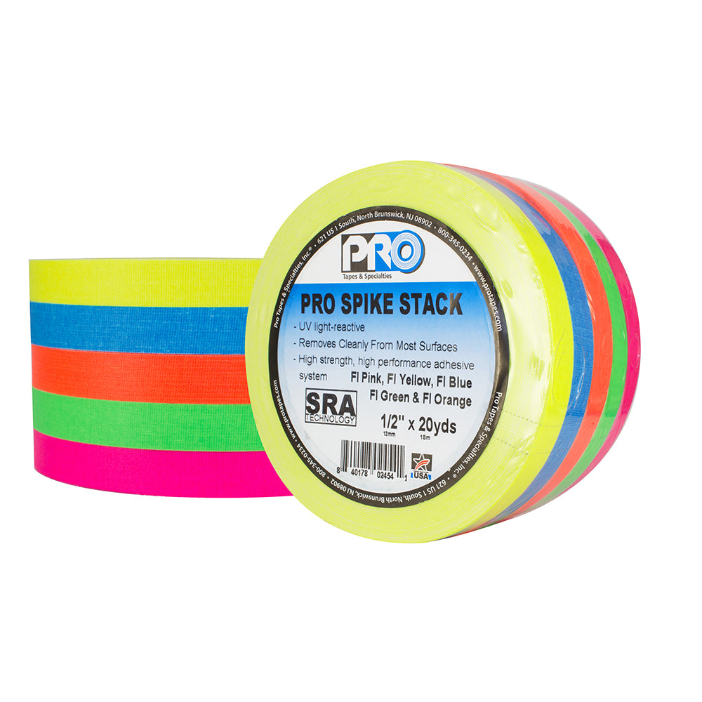 "Pro Gaff Spike Stacks - 1/2"" x 20yd, 5 Fluorescent Colors - Neon Production Supply"