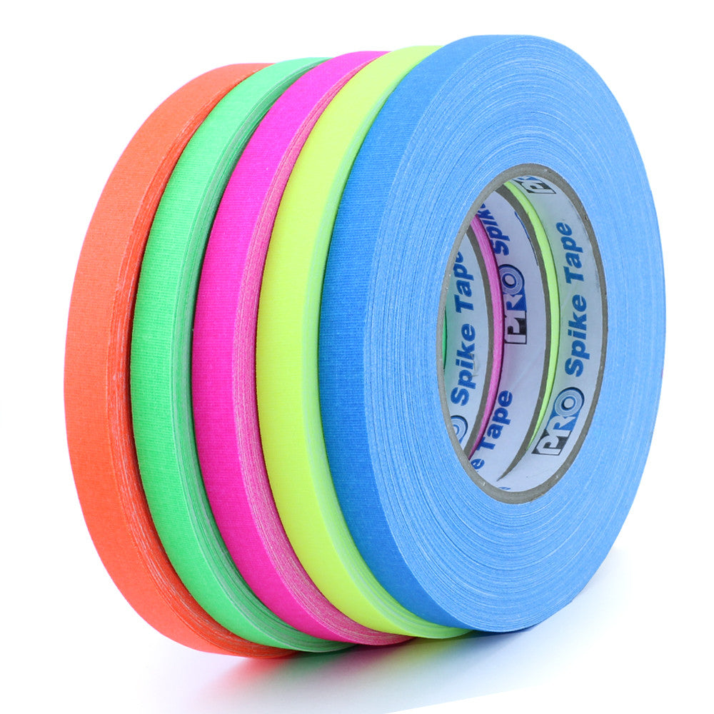 "Pro Gaff Spike Tape - 1/2"" X 45yd, 5 Color Pack - Neon Production Supply"