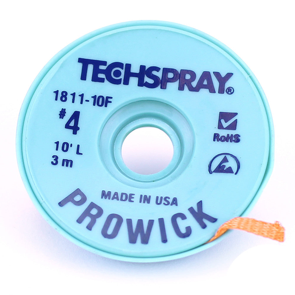 Techspray Pro Wick Blue #4 Braid, 10' - 1811-10F