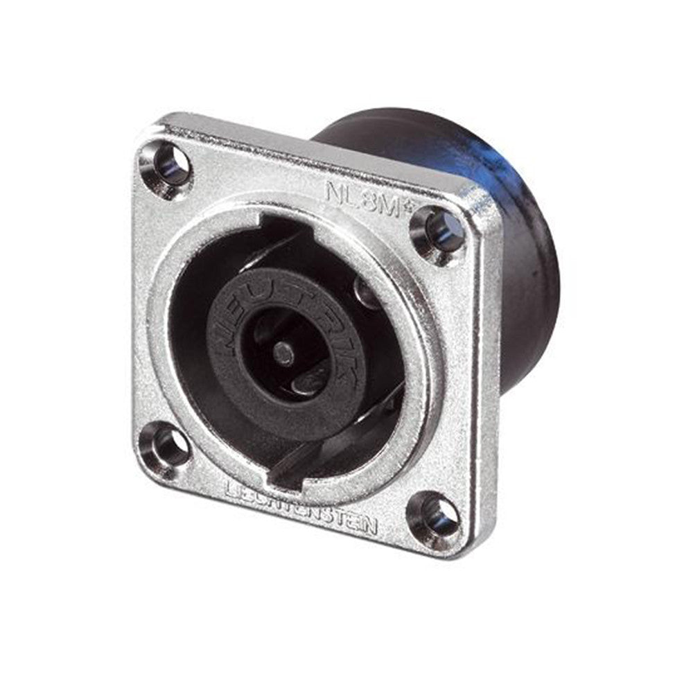 Neutrik 8-Pin Chassis speakON Connector, Square, Nickel - NL8MPR