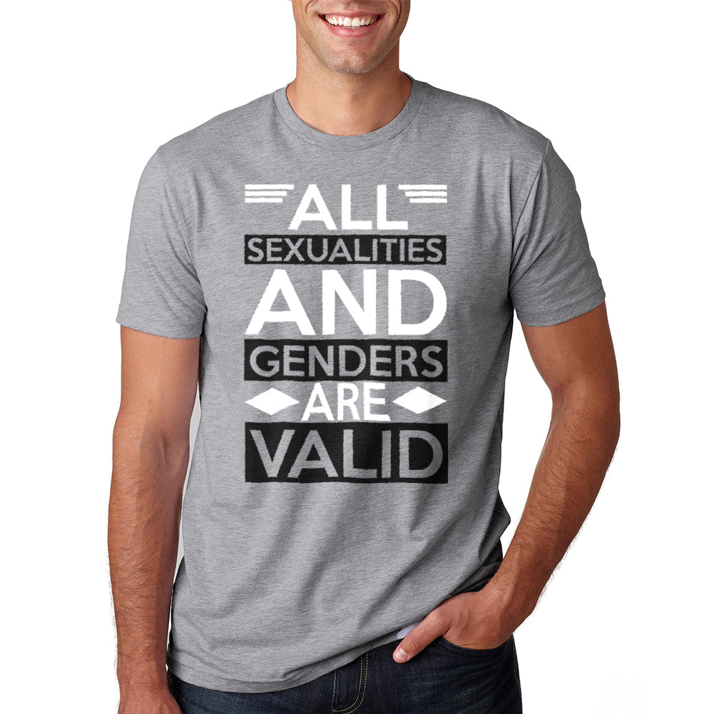 All sexualities & genders are valid Men's Heather Grey T-shirt
