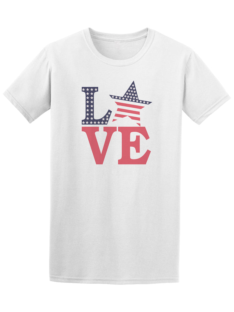 America USA Love Flag Stars And Stripes Tee - Image by Shutterstock