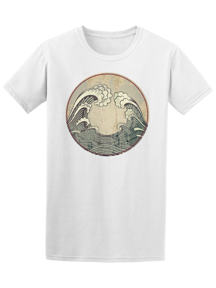 Asian Retro Decorative Waves Tee Men's -Image by Shutterstock