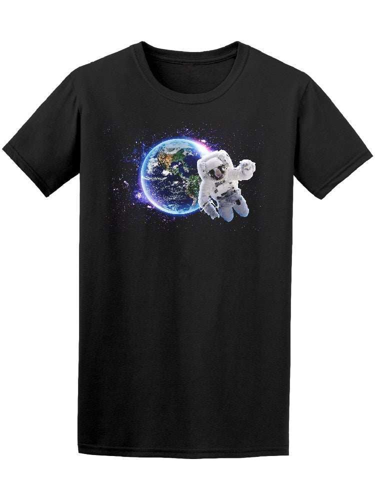 Astronaut Over Earth Galaxy Tee Men's -Image by Shutterstock