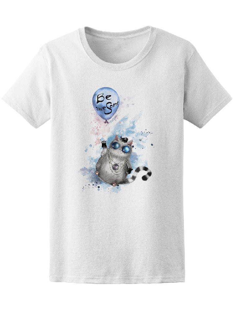 Be Awesome Watercolor Cat Tee Women's -Image by Shutterstock