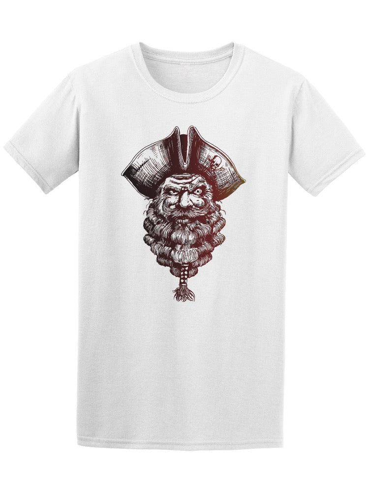 Angry Pirate Face Sketch Tee Men's -Image by Shutterstock