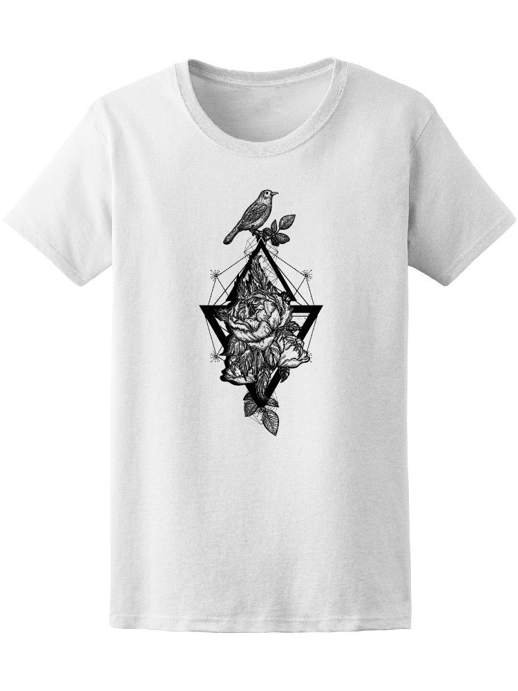 Birds And Rose Geometry Tee Women's -Image by Shutterstock