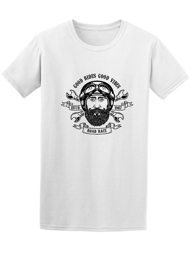Beard Good Rides Good Vibes Men's Tee - Image by Shutterstock