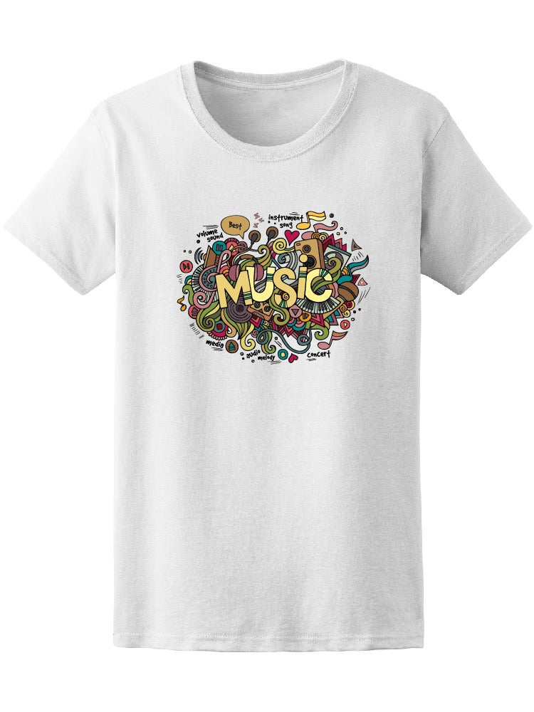 Awesome Music Doodles Elements   Tee Women's -Image by Shutterstock