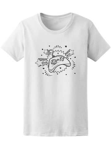 Doodle 70S Video Game Controller Tee Women's -Image by Shutterstock