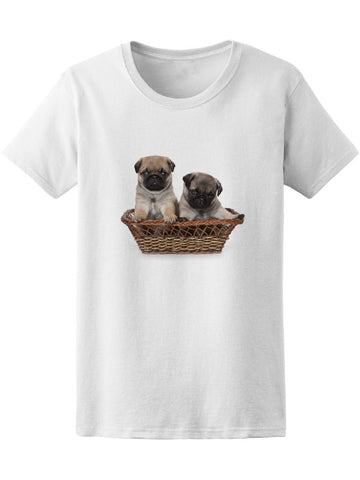 Cute Pug Puppies Graphic Tee Women's -Image by Shutterstock