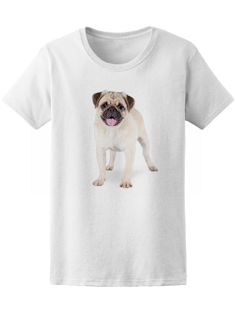 Adorable Cute Puppy Pug Standing Tee Women's -Image by Shutterstock