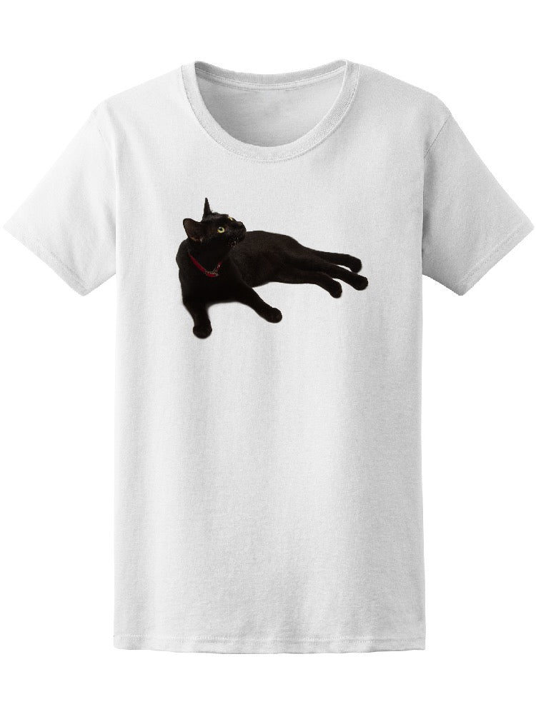 Black Cat Lying Looking Up Tee Women's -Image by Shutterstock