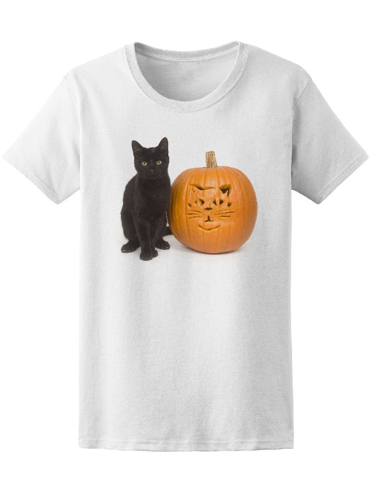 Black Cat Next To A Pumpkin Tee Women's -Image by Shutterstock