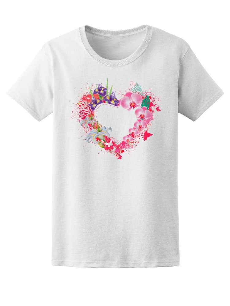 Beautiful Colorful Floral Heart Tee Women's -Image by Shutterstock