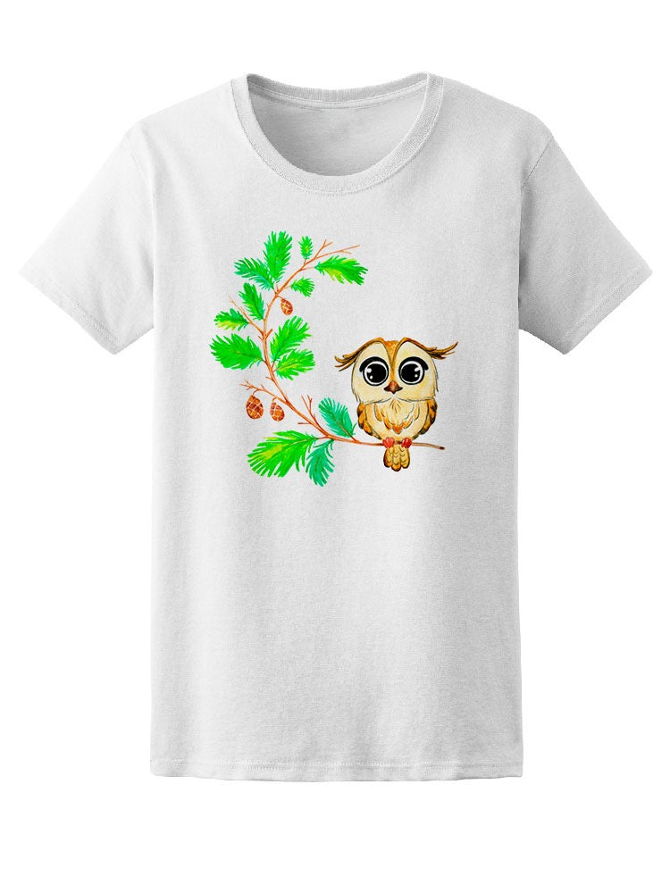Beautiful Floral Owl Sketch Tee Women's -Image by Shutterstock
