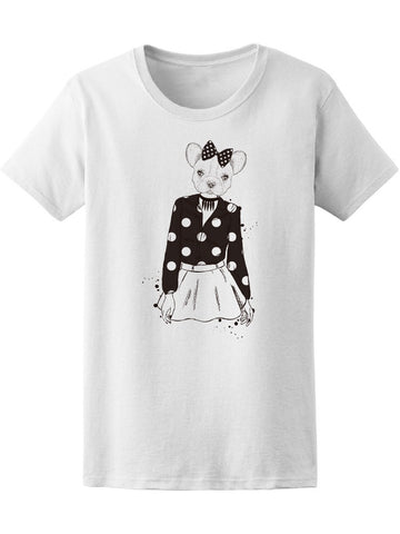 Beautiful Girl Bulldog In Skirt Tee Women's -Image by Shutterstock