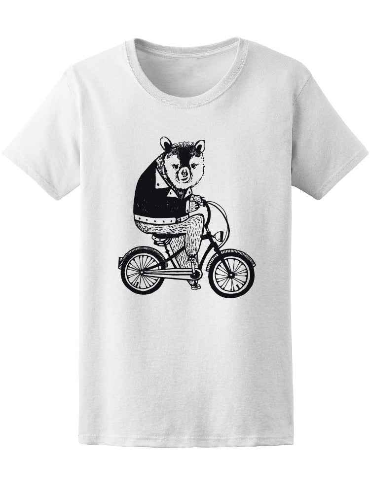 Bear On Bicycle Vintage Tee Women's -Image by Shutterstock