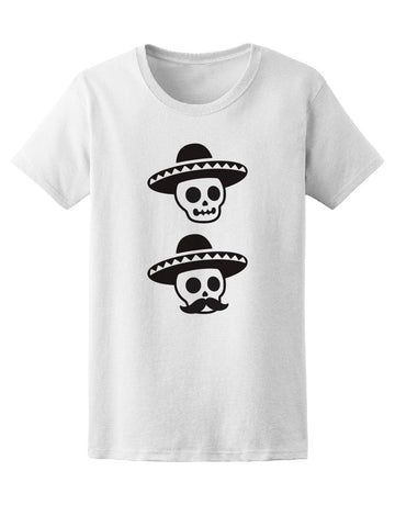 Mexican Mariachi Skull Mustache Tee Women's -Image by Shutterstock
