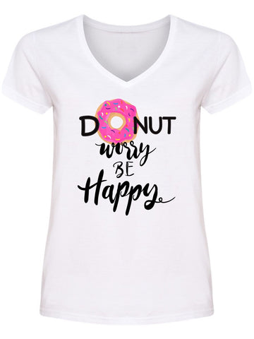 """Dont Worry Be Happy"" (Donut) V Neck Women's -Image by Shutterstock"