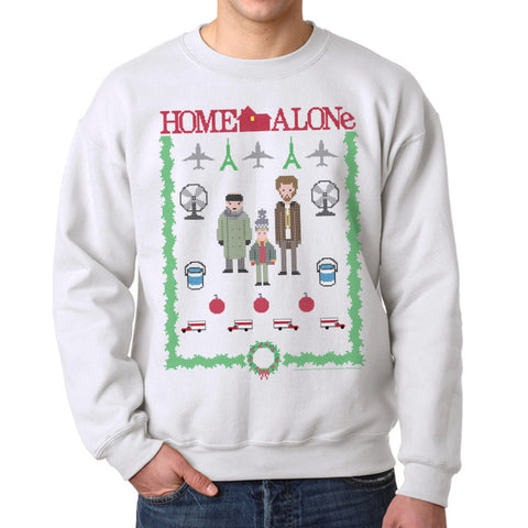Home Alone Paris Airport Christmas Men's White Sweatshirt
