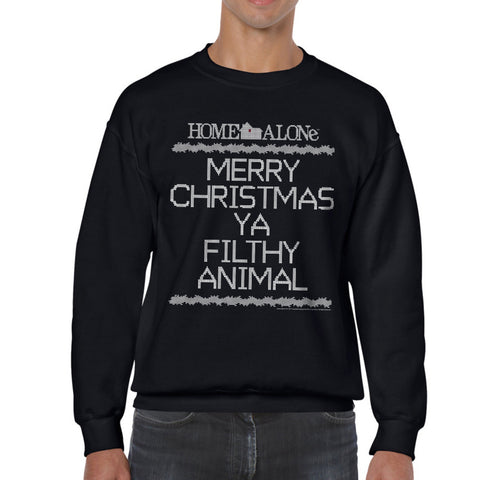 Home Alone Filthy Crosstitch Men's Black Sweatshirt